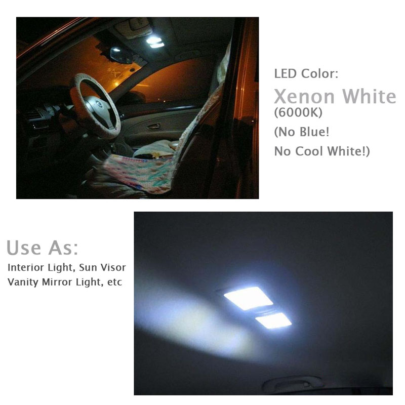 Vanity Light For Car Visor : 10X Xenon White 31mm 9-SMD 5050 LED Bulb For Car Sun Visor Vanity Mirror Light