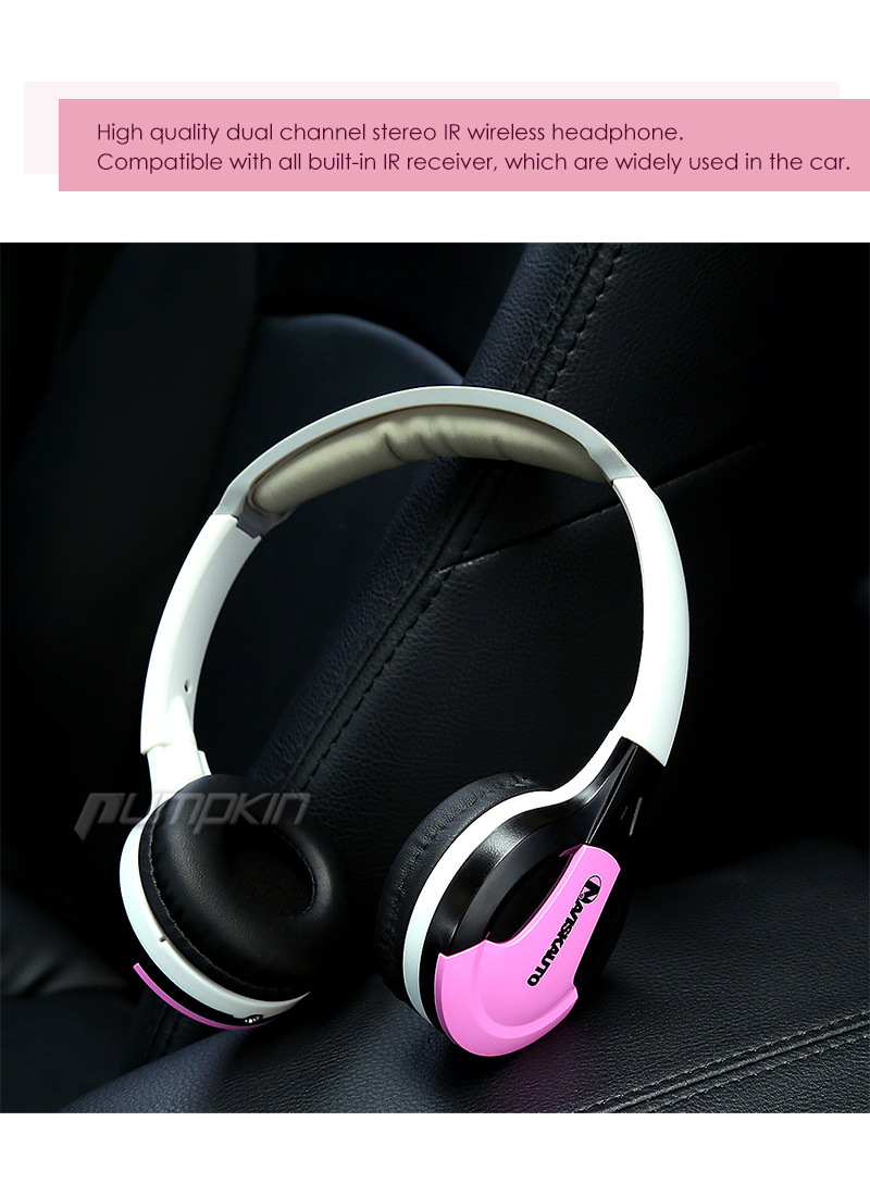 pink dual kanal stereo wireless headset kopfh rer ir. Black Bedroom Furniture Sets. Home Design Ideas