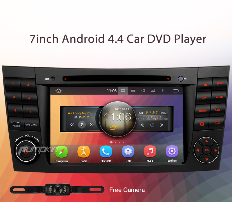 pumpkin android 4 4 car dvd player gps stereo radio tv for. Black Bedroom Furniture Sets. Home Design Ideas