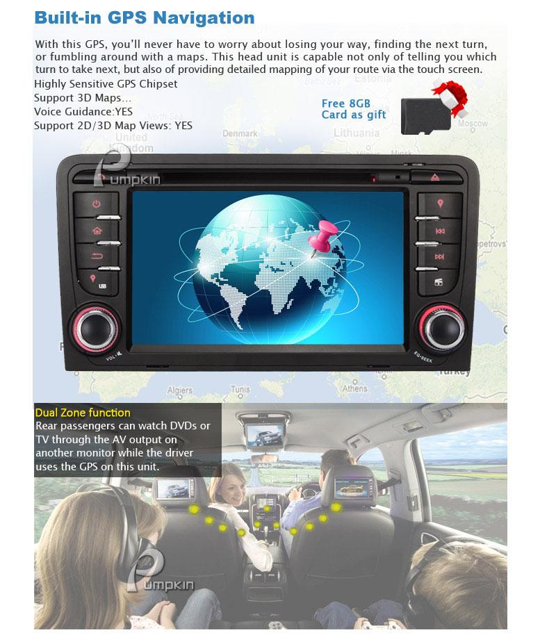 2 din autoradio navigation gps car dvd navi for audi a3. Black Bedroom Furniture Sets. Home Design Ideas