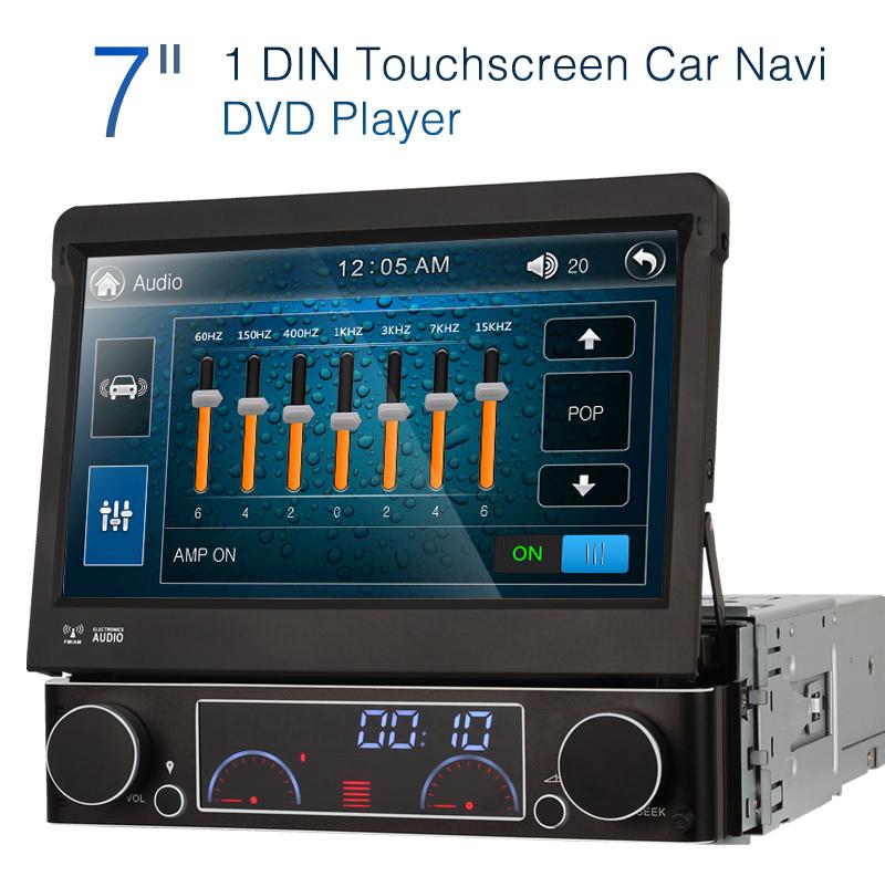uk 7 touch screen single din 1 din car stereo sat nav dvd. Black Bedroom Furniture Sets. Home Design Ideas