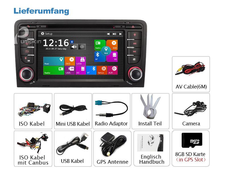 kamera 7 2din autoradio gps navigation dvd player f r audi a3 bt 3g ipod usb sd. Black Bedroom Furniture Sets. Home Design Ideas