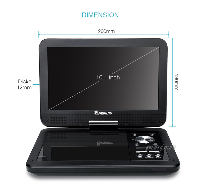 10 1 zoll portable dvd player 270 tragbarer auto ir tft. Black Bedroom Furniture Sets. Home Design Ideas