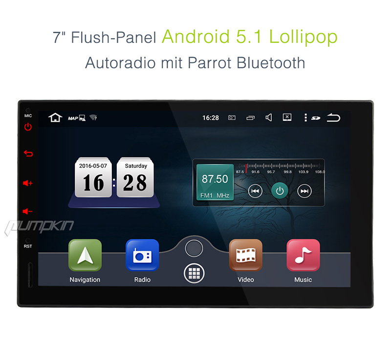 7 zoll autoradio doppelt 2 din android 5 1 quad kern gps navi sd usb player dab eur 319 95. Black Bedroom Furniture Sets. Home Design Ideas