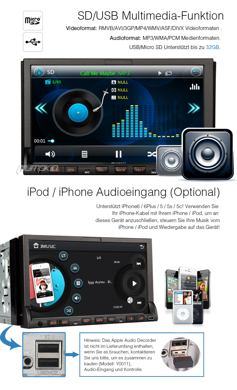 7 zoll autoradio mit touchscreen dvd gps navi player usb. Black Bedroom Furniture Sets. Home Design Ideas