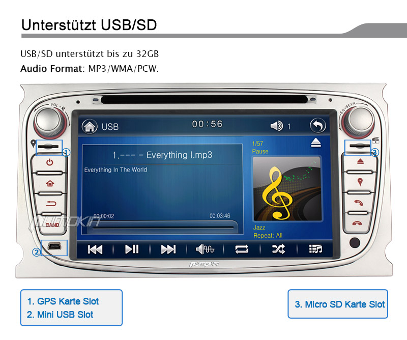 gps navigation autoradio dvd cd mp3 usb radio f r ford. Black Bedroom Furniture Sets. Home Design Ideas