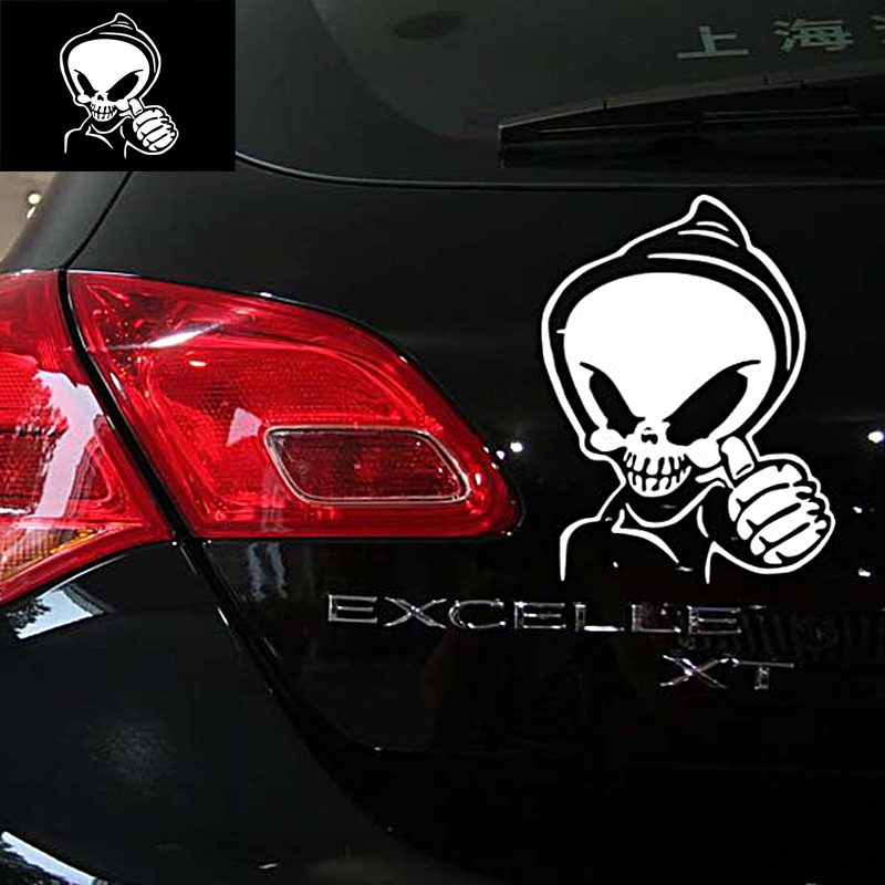 Funny Graphic Decal Auto Car Sticker Skull Provocateur Skeleton Extraterrestrial