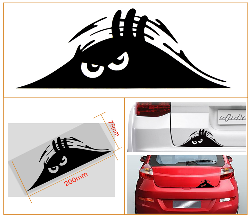Funny Peeking Monster Scary Eyes Vinyl StickerdecalEmblem Car - Decal sticker for car