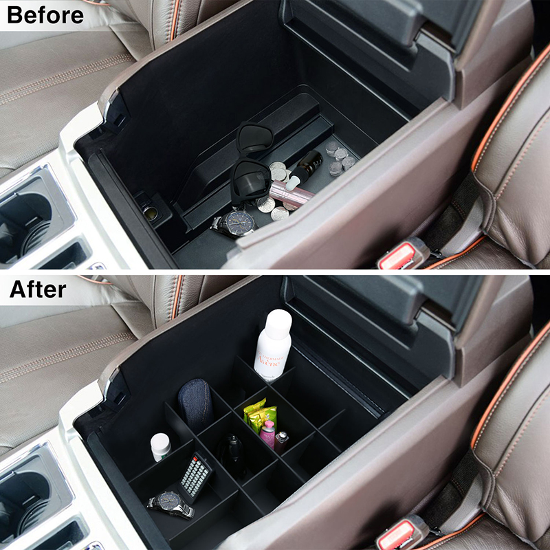 Details About Center Console Organizer For Ford F150 2015 2018 Armrest Box Storage Organizer