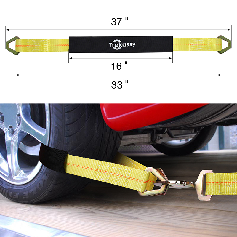 Lasso Auto Wheel Tire Net Car Tie Down Straps w//Flat Hooks 4 Pack for Trailers