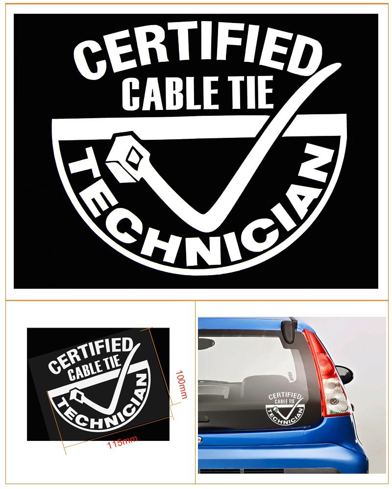VINYL DECAL STICKER..CERTIFIED ZIP TIE TECHNICION...FUNNY...CAR TRUCK WINDOW