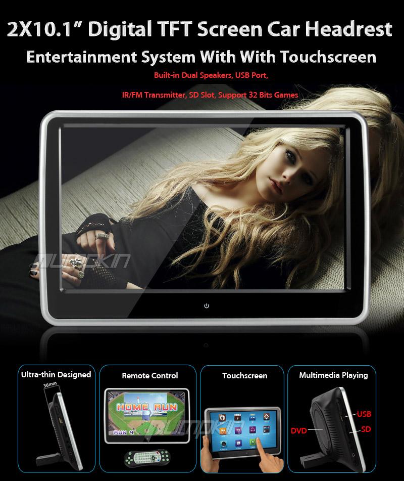 2 pcs 10 1 hd dvd moniteur appuie t te voiture repose. Black Bedroom Furniture Sets. Home Design Ideas