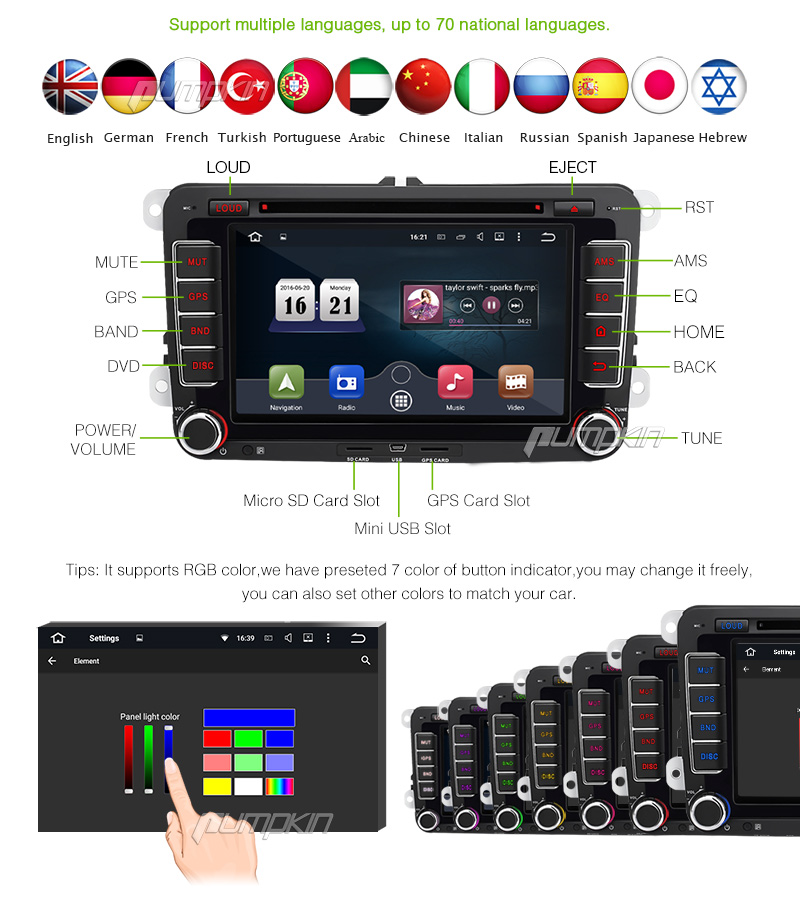 7 doppio din gps autoradio dvd per jetta golf android 5 1. Black Bedroom Furniture Sets. Home Design Ideas