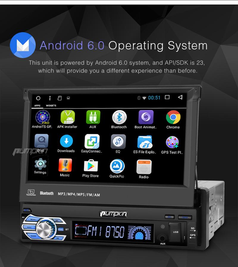 camera single 1 din 7 android 6 0 car radio stereo gps. Black Bedroom Furniture Sets. Home Design Ideas