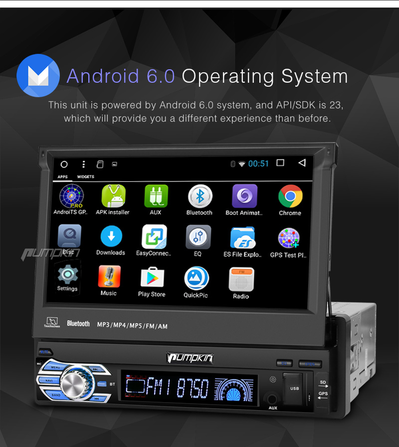 7 in dash 1din car stereo android 6 0 quad core gps navi. Black Bedroom Furniture Sets. Home Design Ideas