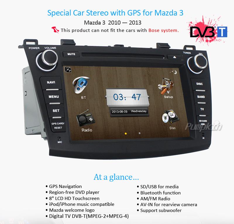 "8"" Car GPS Nav DVD Player Radio Stereo Auto Audio Unit for Mazda3 2010 2011 2012"