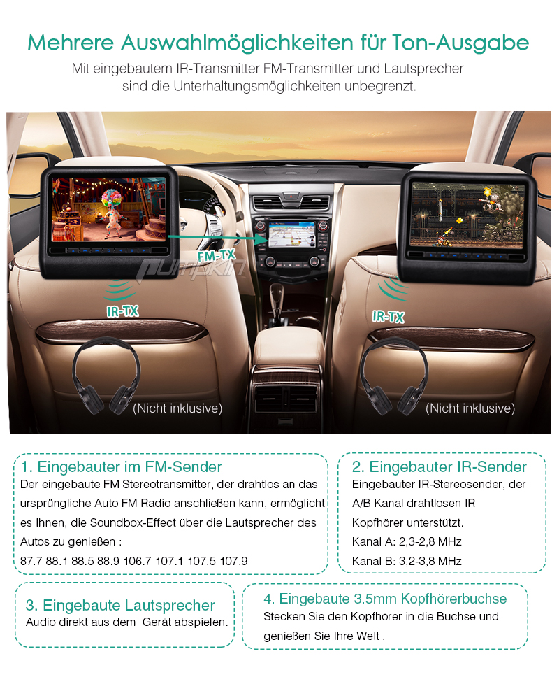 10 1 1024 600 hd hdmi auto kopfst tzen monitor pillow dvd. Black Bedroom Furniture Sets. Home Design Ideas