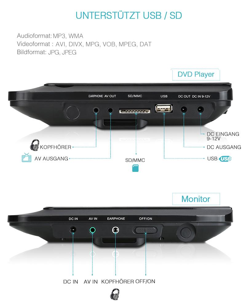 9 tft doppel bildschirm tragbar auto kopfst tzen monitor dvd player usb sd mmc ebay. Black Bedroom Furniture Sets. Home Design Ideas