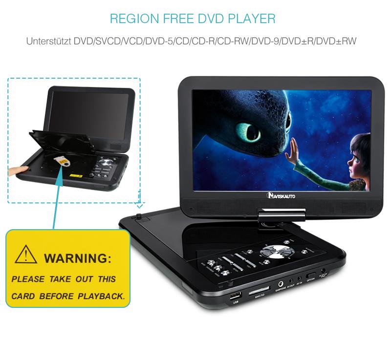 naviskauto 10 1 hd tragbarer dvd player portable auto. Black Bedroom Furniture Sets. Home Design Ideas