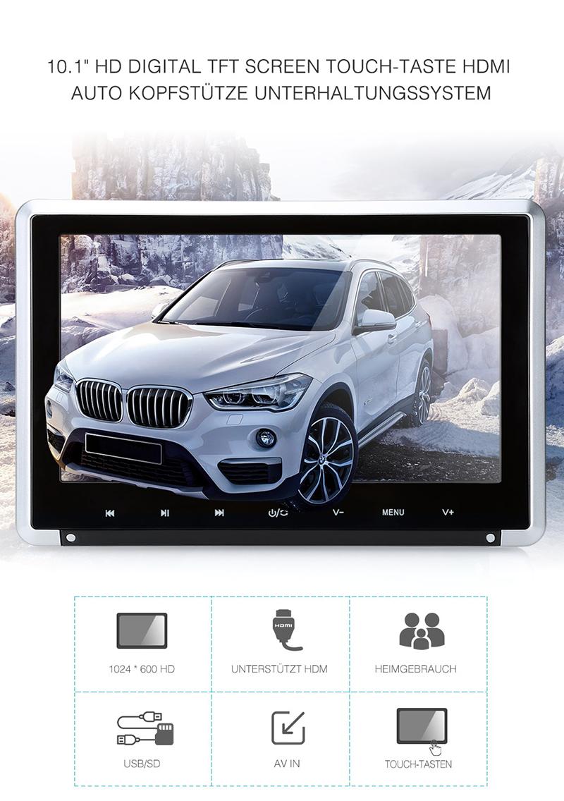 10 1 zoll hd auto kopfst tze monitor dvd player. Black Bedroom Furniture Sets. Home Design Ideas