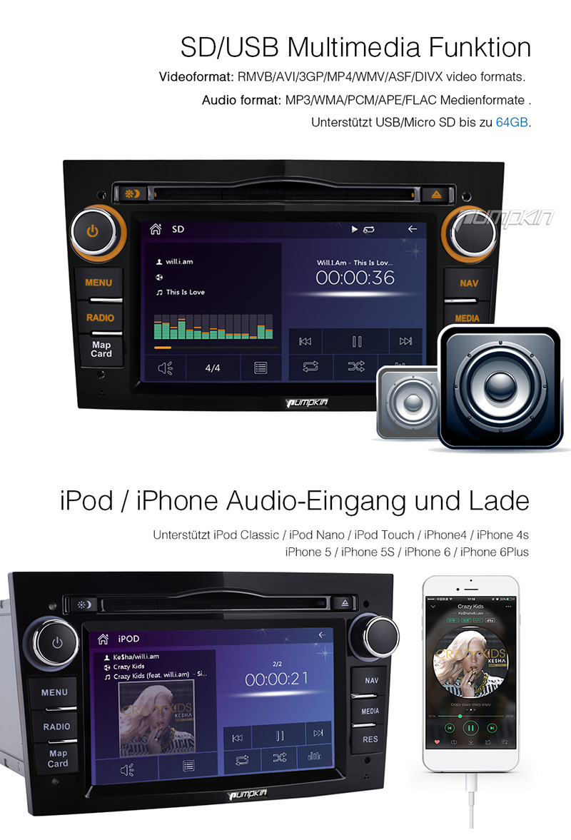 hd autoradio dvd player gps navi bluetooth sd iphone 6 6s. Black Bedroom Furniture Sets. Home Design Ideas